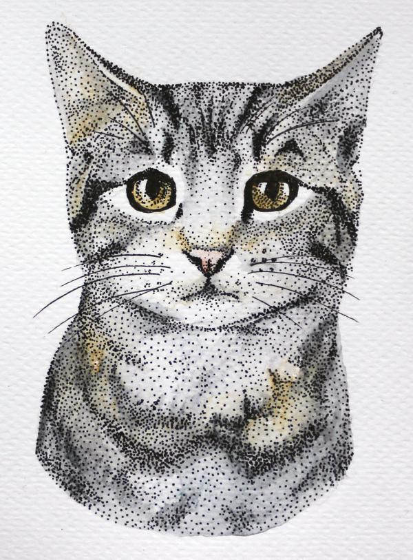 Cat | Colored drawing made of dots - Unique Art Platform ...